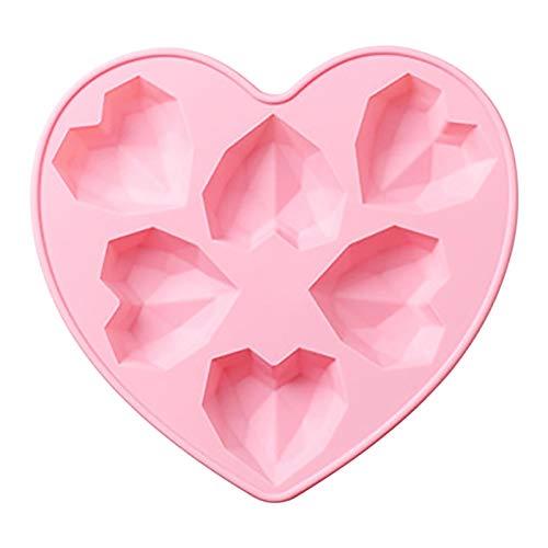 basisago Herzform Silikonform, 3D Diamant Herz Schokoladenform Handgemachte Kuchenform Liebe Herz Fondant Form Backwerkzeug, Für DIY Gepäck Trinket Dessert Gelee Anhänger