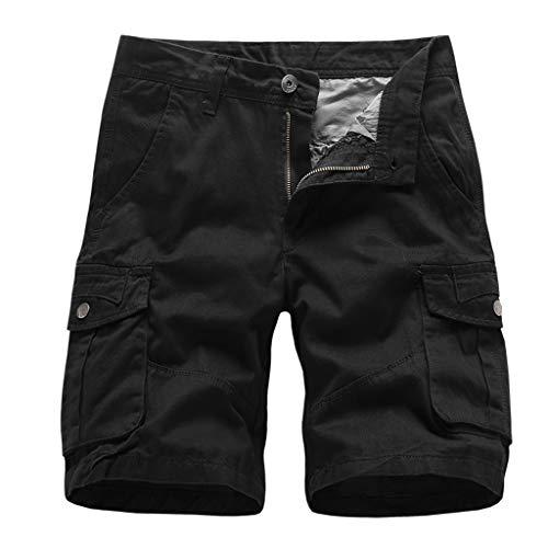 GreatestPAK Herren Pocket Kurze Hosen Lässig Einfarbig Straight Slim Fit Hosen Jeans Tooling Multi-Pocket Lose Shorts,Schwarz,EU:L(Tag:34)