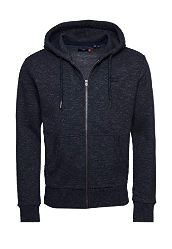 Superdry Mens OL Classic Zip Hood Sweater, Eclipse Navy Feeder, Large