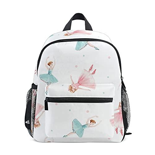 Mini-Schulrucksack, College-Tasche, Kinder-Büchertasche für Jungen und Mädchen, niedlich, tanzende Mädchen, Ballett, Nussknacker, Ballerina mit Clip