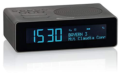 Roadstar CLR-290D+ DAB+ Radiowecker mit LCD-Display, Zwei Weckzeiten, digitaler Radio-Tuner, USB-Anschluss, Kopfhörer-Anschluss, 40 Senderspeicher, schwarz