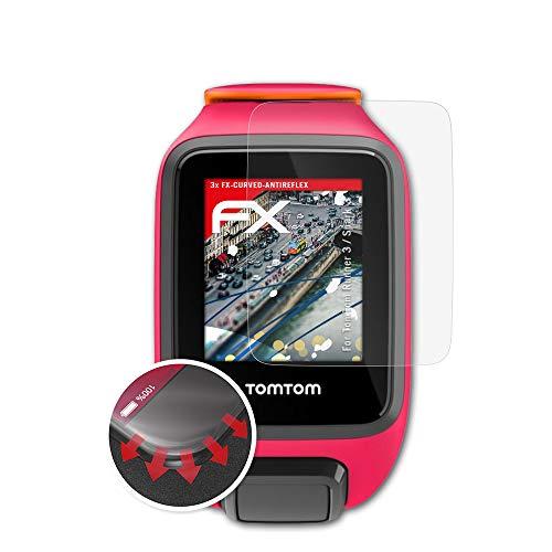 atFoliX Schutzfolie kompatibel mit Tomtom Runner 3 / Spark 3 Folie, entspiegelnde & Flexible FX Bildschirmschutzfolie (3X)
