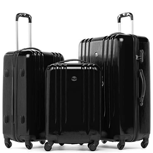 FERGÉ Kofferset mit Trolley Marseille Hartschale 3er Set - Handgepäck 55 cm, L und XL Reisekoffer 4 Rollen schwarz