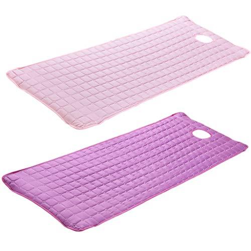 2 Piezas Colchoneta para Camilla de Masaje para Tratamientos de Belleza - rosa púrpura
