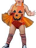Bowanadacles Costume per Halloween da Bambina 2 Pezzi Pagliaccetto di tutù Senza Manica c...