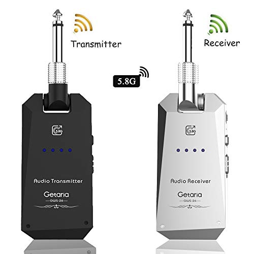 Getaria Wireless Guitar Transmitter Receiver set 5.8GH Wireless Guitar System 4 Channels for Electric Guitar Bass (Silver/black)