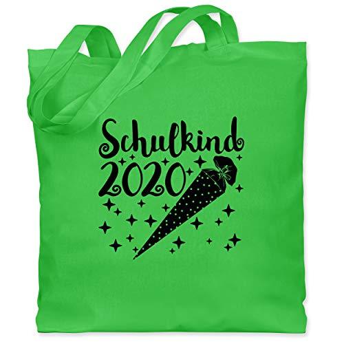 Einschulung und Schulanfang - Schulkind 2020 mit Schultüte und Sternchen - Unisize - Hellgrün - Geschenk - WM101 - Stoffbeutel aus Baumwolle Jutebeutel lange Henkel