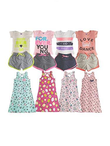 Roupa Infantil Menina Kit Com 12 Acessórios Roupas Juvenil (Tamanho 4)