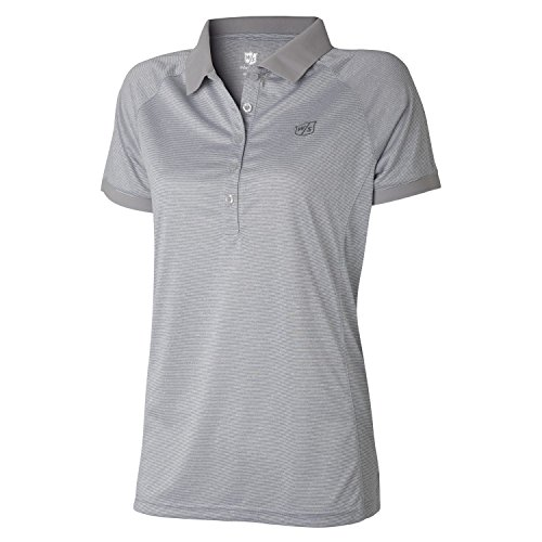 Wilson Golf Femme Polo de sport, STRIPE POLO, Polyester, Gris (Lunar Rock), Taille: L, WGA700323