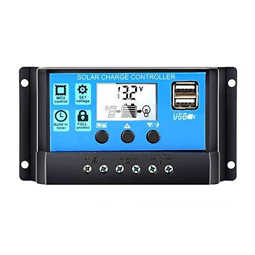 KKmoon 10 A/20 A/30 A Regulador De Carga Solar, Panel Solar Con Doble Puerto USB 12 V/24 V Para DIY Energía Solar