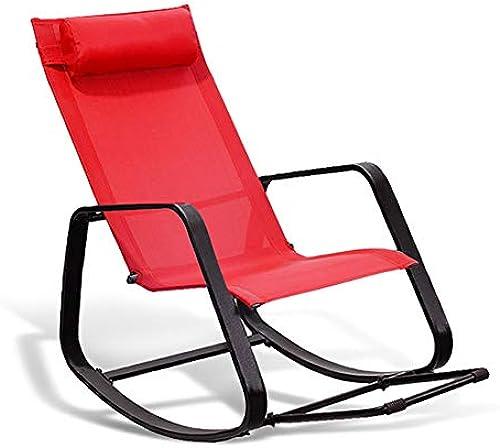 Faules Sofa YXX älterer Schaukelstuhl im Freien, entSpaßnender Liege des Balkon, HaupÃlehnen-Klubsessel (Farbe   rot)