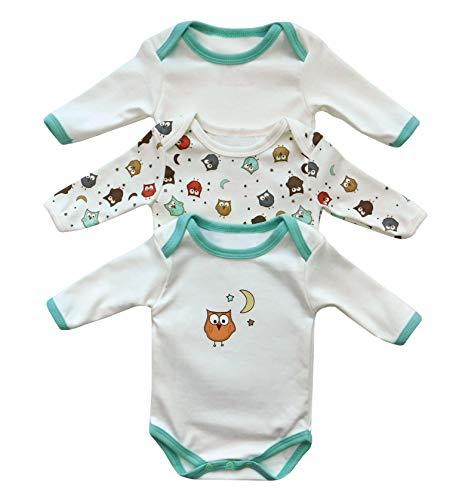 Baby Langarm-Body für Mädchen und Jungs aus 100% Baumwolle im 3er Pack in verschiedenen Größen