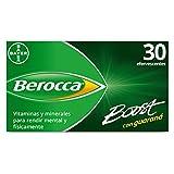 Berocca Boost Complejo de Vitaminas y Minerales con Cafeína y Guaraná Natural, para una Ayuda Rápida en el Rendimiento Mental y Físico, 30 Comprimidos Efervescentes