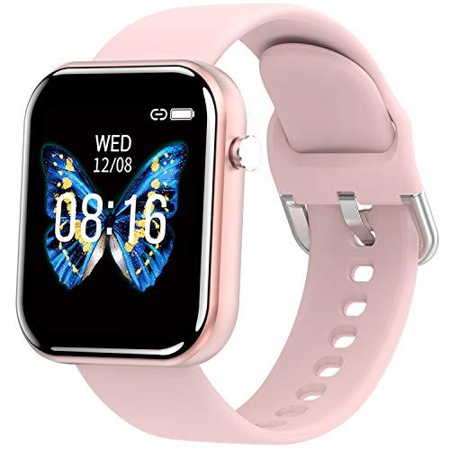 PHIPUDS Smartwatch,Fitness Armbanduhr mit Pulsuhr Touchscreen Fitness Uhr IP68 Wasserdicht Fitness Tracker Sportuhr mit Schrittzähler Stoppuhr Smart Watch für Damen Herren für iOS Android Handy(Rosa)