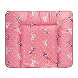 Wickelauflage EDDA 85x72 cm | Wickelunterlage abwaschbar & wasserdicht | Öko-Tex schadstoffgeprüft | einzigartiges Design in drei Motiven (Sterne pink)