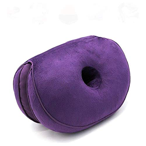 Dual Comfort Cushion Lift Hips Up Seat Pad Cushion, Lift Hips Up Seat Cushion, Orthopedic Memory Foam Support Cushion for Sciatica, Tailbone and Hip Pain Pressure Relief on the Back (Purple)