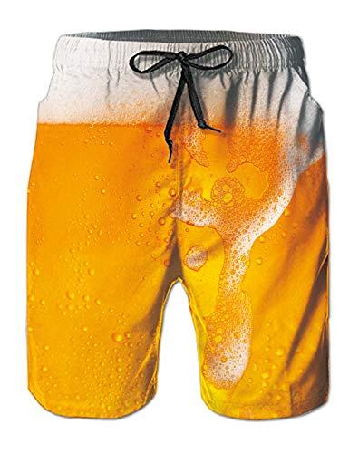 Goodstoworld Unisex Shorts Herren Badehose 3D Bier Print Kurze Hose Sommer Strandshorts Männer Surf Board Shorts 3XL