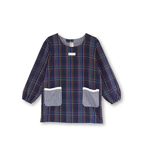 NISHIKI[ニシキ] 割烹着 かっぽう着 綿ポリ 軽い着心地 動きやすいショート丈 ポケット付き レディース おしゃれ かわいい 袖付きエプロン スモック kappou (ネイビー/ML/ty446xb)
