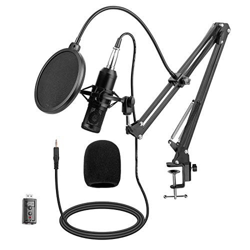 Rapping Microphone with Boom Arm for Podcast Studio Webinar, 3.5mm Cardioid Condenser Mic Kit Equipment for Android Tablet PC Computer - Scissor Stand, Pop Filter, USB Sound Card, Shock Mount Included