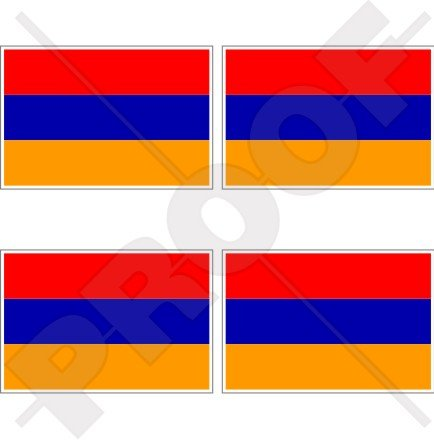 Armenien Armenische Flagge 5,1cm (50mm) Vinyl bumper-helmet Sticker, Aufkleber X4