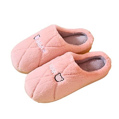 TTFF Hombre Invierno Zapatos de Casa,Zapatillas Antideslizantes de Suela Gruesa, Zapatos de algodón cálidos para Interiores,Invierno Forro de Cálido Pantuflas