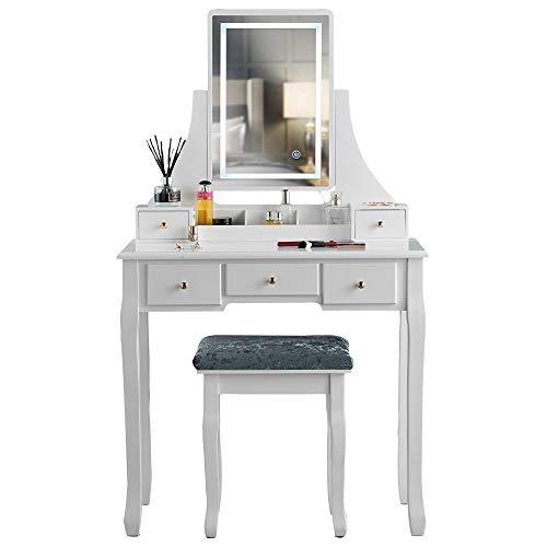 CARME Savannah Schminktisch mit Touch-Spiegel, LED-Licht, 5 Schubladen, Hocker, Set, Schminktisch, Schlafzimmer, Möbel, Make-up, Schmuck, Weiß