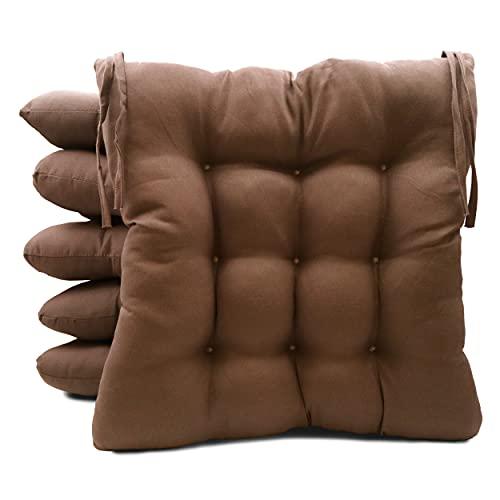 Pack de 6 Cojines para Sillas de Exterior e Interior Reversibles 40 x 40 x 7 cm, con Correas de Sujeción (Marrón)