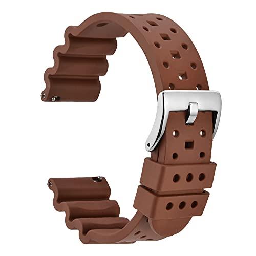 WOCCI 22mm Estilo Poroso Correa de Reloj de Caucho Fluorado para Hombre y Mujer, Hebilla Plateada Pulida (Marrón)