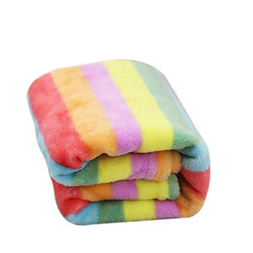 Oyfel Manta Invierno Polar Super Soft, Manta para Mascotas Color Arcoíris Termica para Navidad Sofa Silla para Bebé y Gatos Cachorros Pequeñas