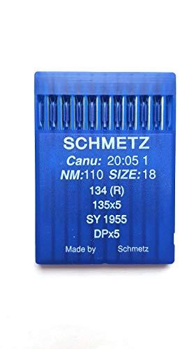 SCHMETZ Agujas industriales para máquina de coser CANU 20:05 1, 134R, SY 1955, DPx5 (18/110)