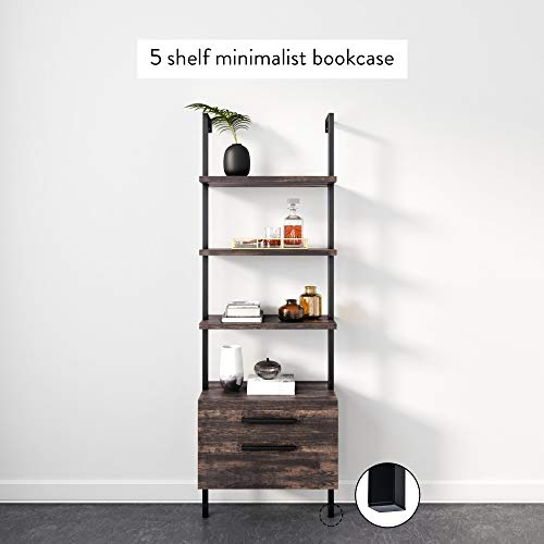 Nathan James Theo Industrial Bookshelf with Wood Drawers and Matte Steel Frame, 3-Shelf, Nutmeg/Black