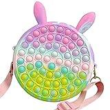 ruixin borsa a tracolla fidget, pop it borsa a tracolla per giocattoli sensoriali in silicone, spingi bolla borsa a tracolla arcobaleno giocattolo a bolle antistress per bambini e adulti