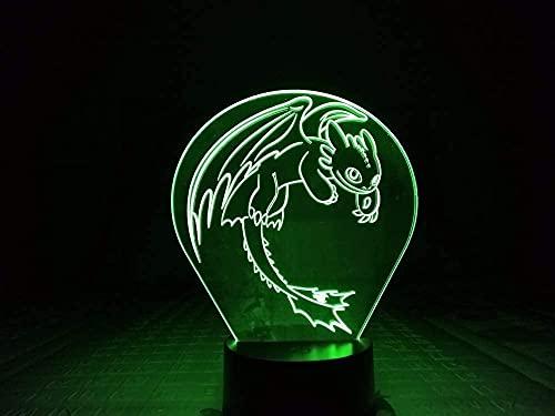 ZHFHA Lámpara De Mesa con Luz Nocturna 3D, Cómo Entrenar A Tu Dragón Ilusión 3D USB Táctil RGB Niño Regalo para Niños Night Fury Luz Nocturna Decoración De Escritorio LED