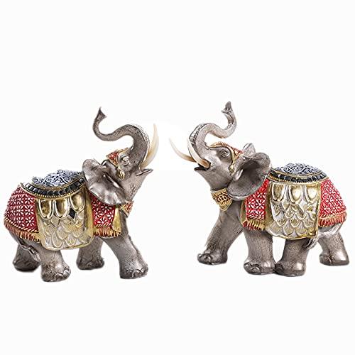 Huachaoxiang Elephant Deco Sculpture Lucky Feng Shui Elephant Deco Sala de Estar para el hogar Regalo de decoración de Escritorio, Resina / 2pcs,Oro