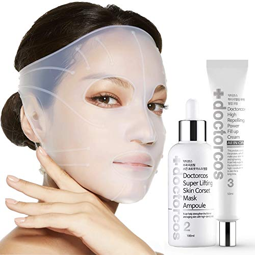 DOCTORCOS Super Lifting Skin Mask Set | Silicone Mask + Mask Ampoule (3.38 oz) + Fill up Wrinkle Cream (1.69 oz) | Full face Lifting Package | Neck and eye lift | Korean Skin Care