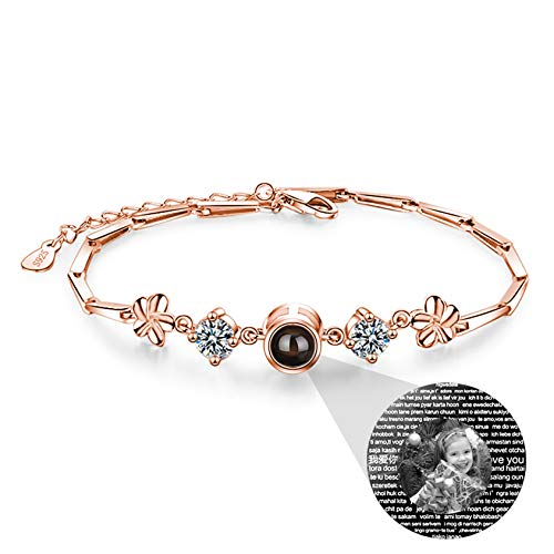 Love Memory Custom Photo Bracelet Personalized Projection Bracelet 100 Different Languages I LOVE YOU Bracelet Promise Bangle(Rose gold Black and white)
