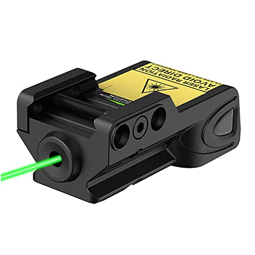 Gmconn Mini Tactical Green Laser Sights Ultra Low Profile Green Dot Laser Gun Sight for Pistols, Fit Picatinny Rail, USB Rechargeable, Lightweight (Green Laser)