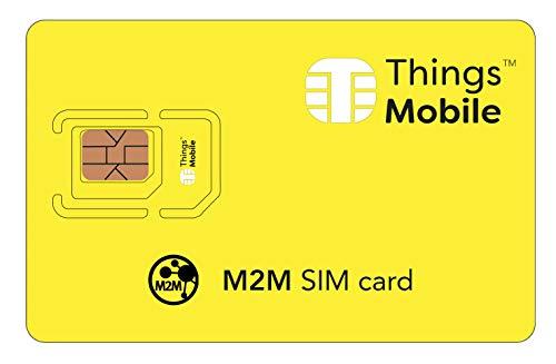 Tarjeta SIM M2M - Things Mobile - Cobertura Global y Red multioperador GSM/2G/3G/4G, sin costes fijos, sin expiración y tarifas competitivas con Portal de gestión y Control
