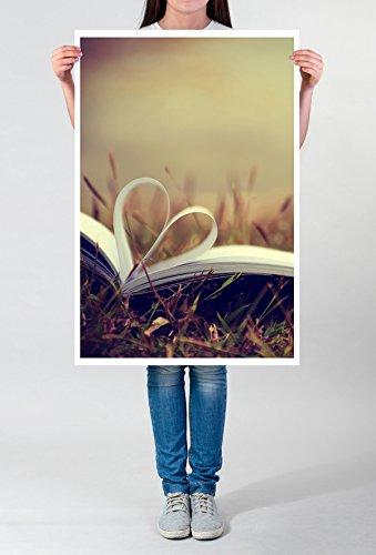 Best for Home Artprints – Fotografia Artistica – Libro con Pagine a Forma di Cuore Stampa Fotografica in qualità nitida, Tela 60 x 90 cm su Cornice, LEINWANDBILD gespannt 90x60cm