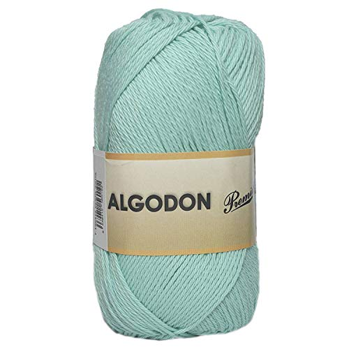 Hilo Ovillo de Algodón Premium 100% Algodón perfecto para DIY y tejer a mano (Color Verde Agua 100 g, aprox. 220 metros)