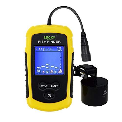 Pescado portátil FINDER SONAR, TN / Anti-UV LCD Pantalla LED de retroiluminación para la pesca nocturna, Wired w / Alarma, 100m (328ft) Detección de profundidad, Turbid Agua, Reservo, Río, Lago, Barco