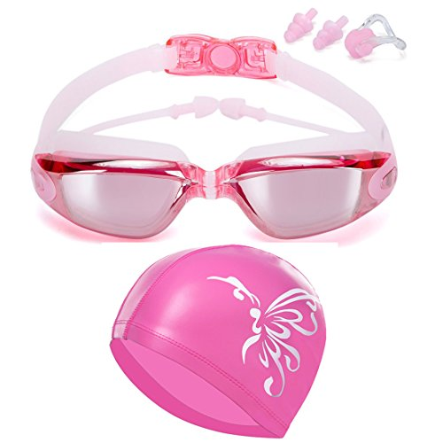 TENKEY Swim Goggles Swim Cap, Swimming Goggles No Leaking Anti Fog UV Protection Triathlon Swim Goggles with Protection Case Nose Clip Ear Plugs for Adult Men Women Girls Youth Kids Child