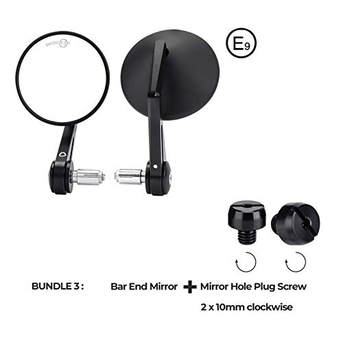 ZHANGWUNIU WUZ Store Modercycle Manillar Mirror Retroview Motorcycle Bar End Mirror Fit para CB500X PCX MSX 125 Shadow R1200GS Ajuste para Yamaha MT09 MT07 (Color : Bundle3)