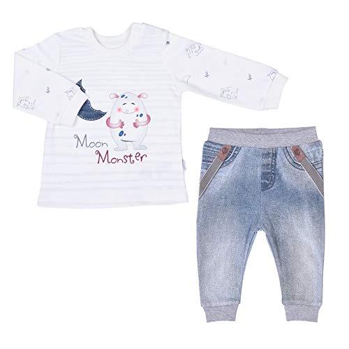 Sevira Kids - Ensemble bébé garçon t-shirt et pantalon en coton bio, Moon Monster