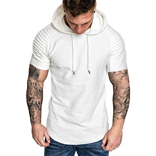 Forthery Mens Gym Hooded Jacket Raglan Short Sleeve Tank Athletic Slim Fit Lightweight Workout Fitness Tops(White,US Size S = Tag M)