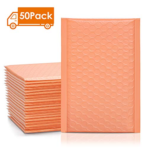 Metronic 50pcs Poly Bubble Mailers 4x8 Inch Padded Envelopes #000 Bubble Lined Poly Mailer Self Seal Peach Quartz