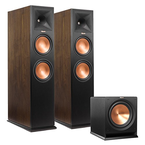 New Klipsch RP-280F Reference Premiere Floorstanding Speakers (Walnut) with R-112SW 12″ Reference Series Powered Subwoofer (Black)