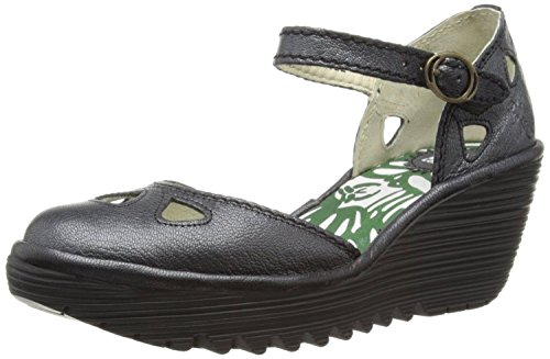 Fly London Yuna Black Womens Leather Wedge Sandals Shoes-8
