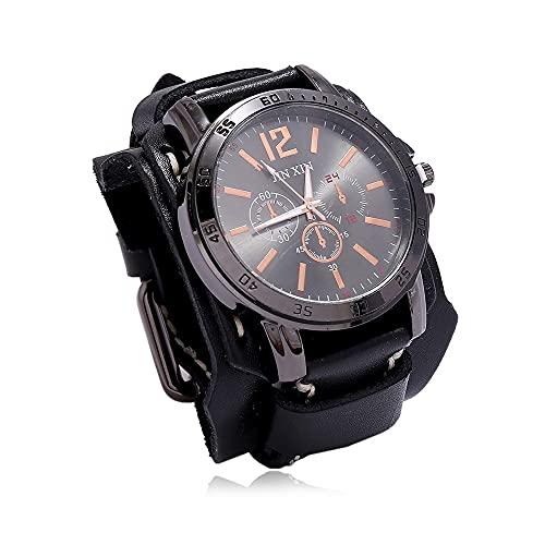UUK Reloj De Pulsera Steampunk Vintage Reloj De Pulsera De Cuero De Banda Ancha Retro Medieval Reloj De Cuarzo Deportivo con Esfera Grande Ajustable para Hombres Y Mujeres,Negro