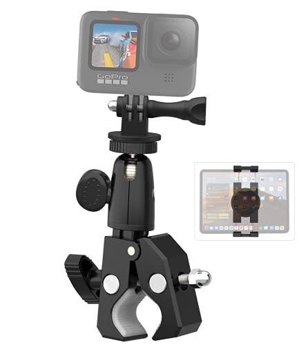 Supporto Botocamera Tablet Bici, Aozcu Porta Fotocamera Bicicletta moto, Supporto Anti-vibrazione Metallo per GoPro Max, Hero 10 9 8 7 6 5, AKASO, Canon, Sony, COOAU, DSLR, iPhone e iPad Pro Air Mini